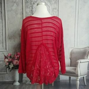 Red Lightweight Sweater with Lace Back Size XL